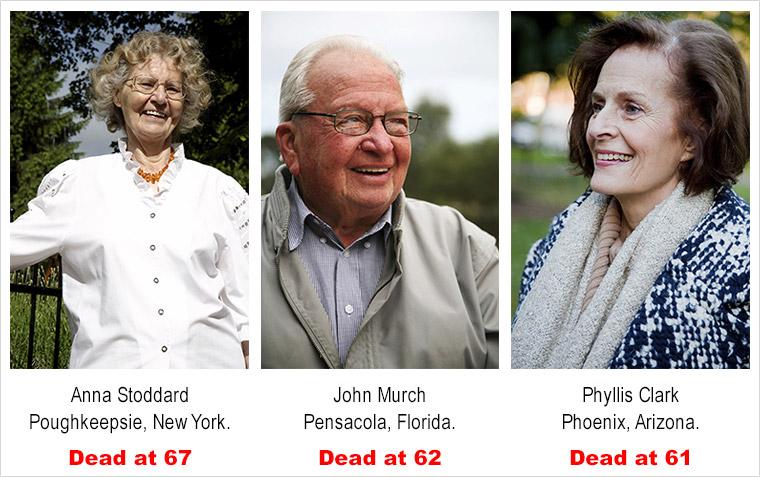 photographs of three senior citizens